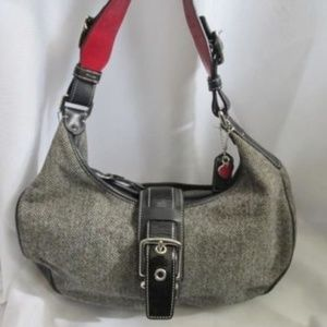 COACH 1407 BLACK WHITE TWEED WOOL LEATHER Bag